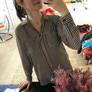Loft Black and Tan striped button-down shirt